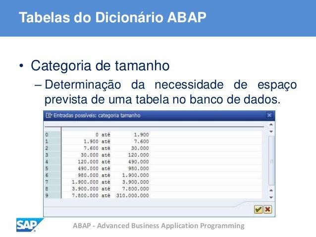ABAP - Advanced Business Application Programming Tabelas do Dicionário ABAP • Categoria de tamanho – Determinação da neces...