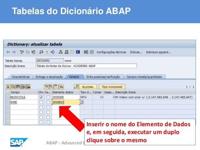 ABAP - Advanced Business Application Programming Tabelas do Dicionário ABAP Inserir o nome do Elemento de Dados e, em segu...
