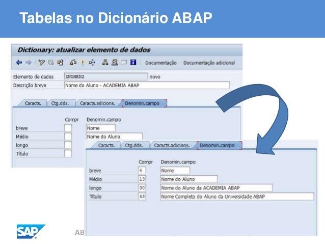 ABAP - Advanced Business Application Programming Tabelas no Dicionário ABAP
