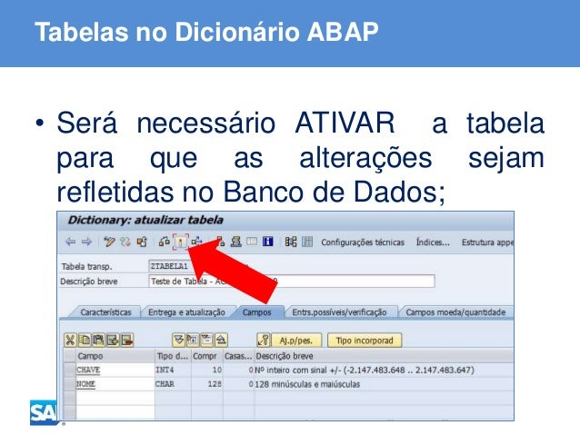 ABAP - Advanced Business Application Programming Tabelas no Dicionário ABAP • Será necessário ATIVAR a tabela para que as ...