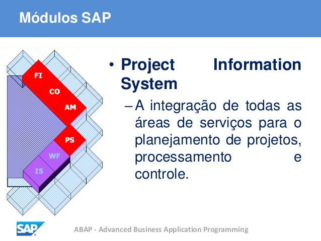 ABAP - Advanced Business Application Programming Módulos SAP • Project Information System –A integração de todas as áreas ...