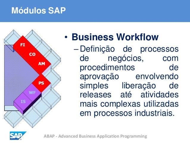 ABAP - Advanced Business Application Programming Módulos SAP • Business Workflow –Definição de processos de negócios, com ...