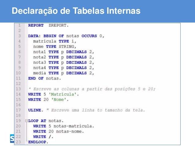 ABAP - Advanced Business Application Programming Declaração de Tabelas Internas