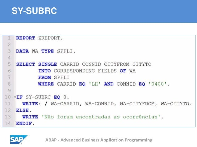 ABAP - Advanced Business Application Programming SY-SUBRC