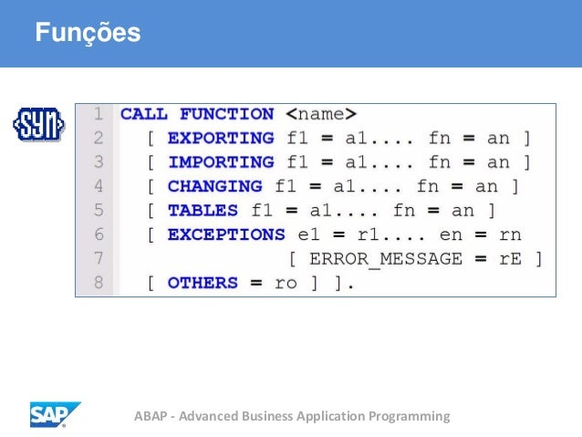 ABAP - Advanced Business Application Programming Funções