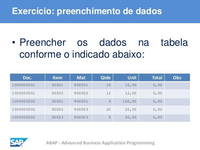 ABAP - Advanced Business Application Programming • Preencher os dados na tabela conforme o indicado abaixo: Exercício: pre...