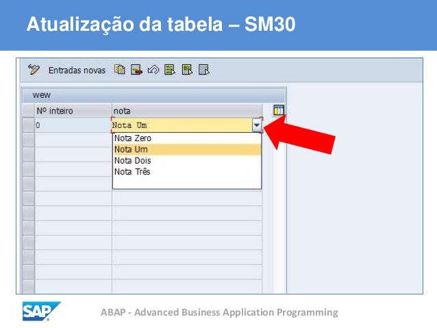 ABAP - Advanced Business Application Programming Atualização da tabela – SM30
