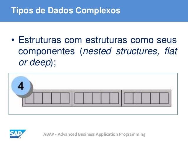 ABAP - Advanced Business Application Programming Tipos de Dados Complexos • Estruturas com estruturas como seus componente...