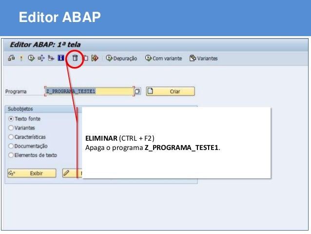ABAP - Advanced Business Application Programming Editor ABAP ELIMINAR (CTRL + F2) Apaga o programa Z_PROGRAMA_TESTE1.