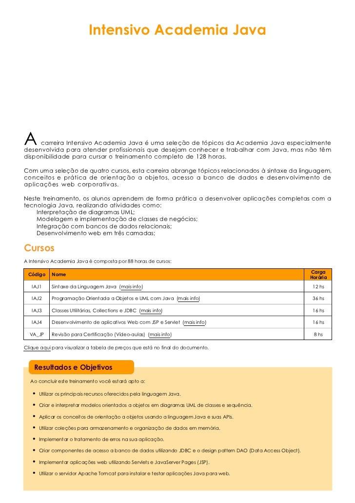 Intensivo Academia JavaA    carreira Intensivo Academia Java é uma seleção de tópicos da Academia Java especialmentedesenv...