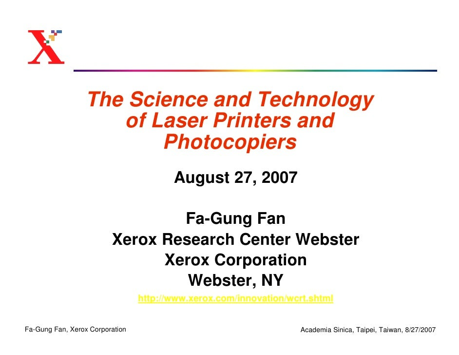 The Science and Technology                     of Laser Printers and                         Photocopiers                 ...