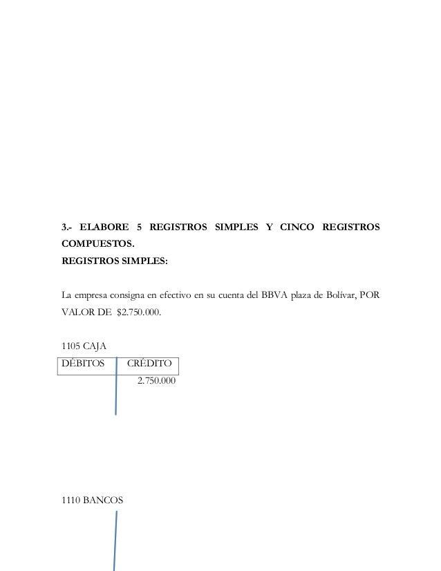 3.- ELABORE 5 REGISTROS SIMPLES Y CINCO REGISTROSCOMPUESTOS.REGISTROS SIMPLES:La empresa consigna en efectivo en su cuenta...
