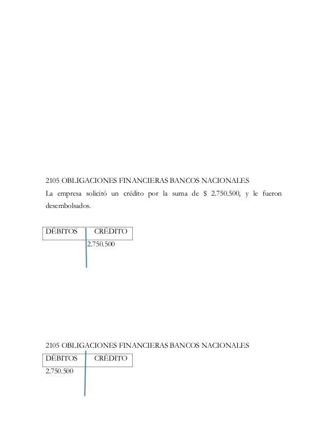 2105 OBLIGACIONES FINANCIERAS BANCOS NACIONALESLa empresa solicitó un crédito por la suma de $ 2.750.500, y le fuerondesem...
