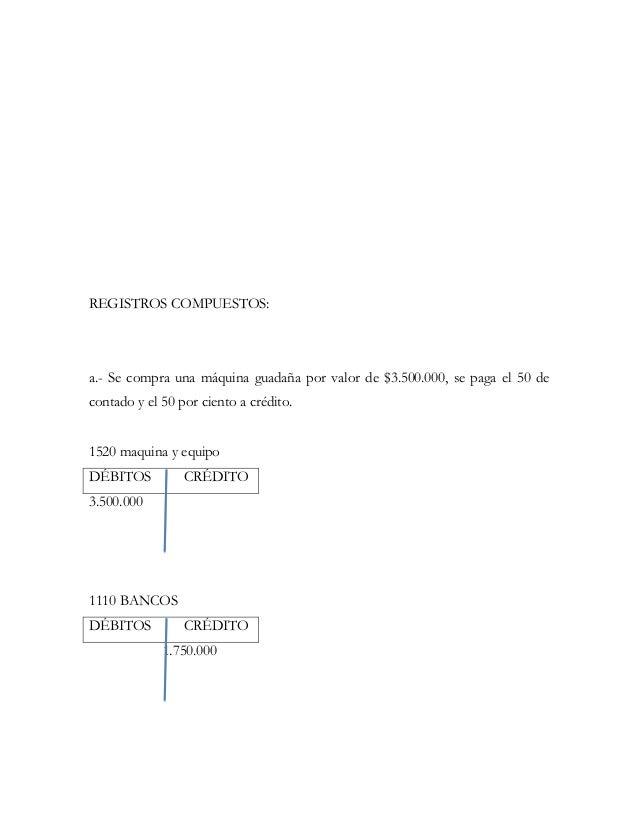 REGISTROS COMPUESTOS:a.- Se compra una máquina guadaña por valor de $3.500.000, se paga el 50 decontado y el 50 por ciento...