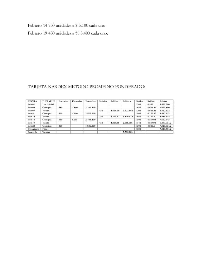 Febrero 14 750 unidades a $ 5.100 cada unoFebrero 19 450 unidades a % 8.400 cada uno.TARJETA KARDEX METODO PROMEDIO PONDER...