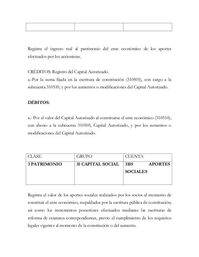 Registra el ingreso real al patrimonio del ente económico de los aportesefectuados por los accionistas.CRÉDITOS: Registro ...