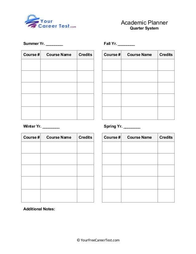 Calendar Organization Quiz : Student academic planner quarter based worksheet