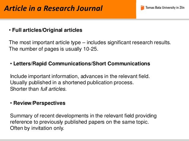 Researchers Publish New Key Parameters >> Publications In Research Journals