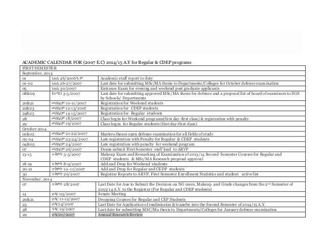 Academic calendar for