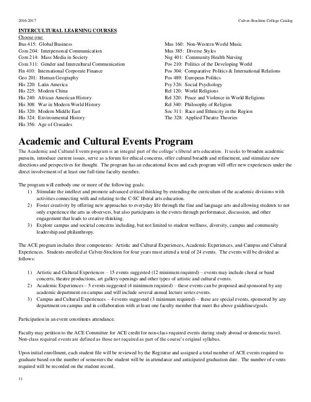 Culver Stockton College Academic Catalog