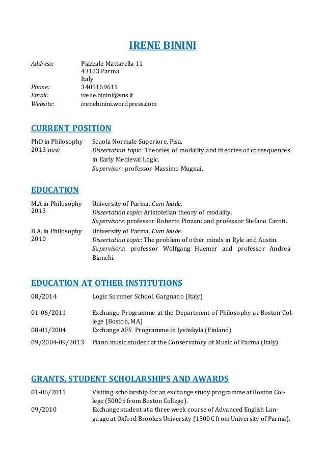 academic curriculum vitae esempio