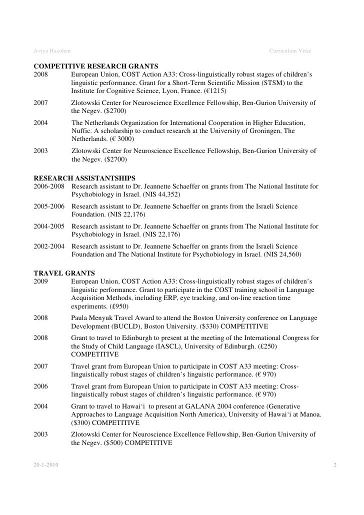 Academic cv example 20 1 2010 1 2 aviya hacohen curriculum vitae yelopaper Image collections