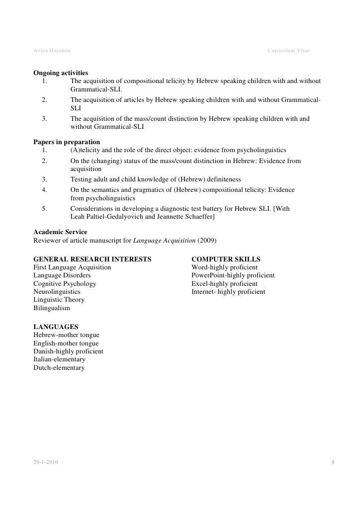 academic cv template word
