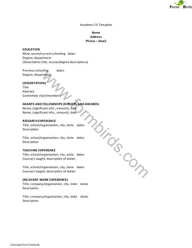 W W W .form Birds.com Academic CV Template Name Address Phone U2013 Email ...  Academic Cv Template