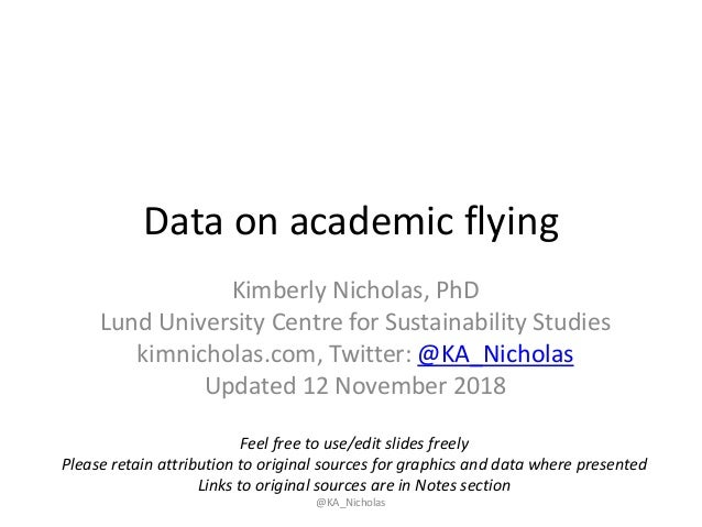 Data on academic flying Kimberly Nicholas, PhD Lund University Centre for Sustainability Studies kimnicholas.com, Twitter:...