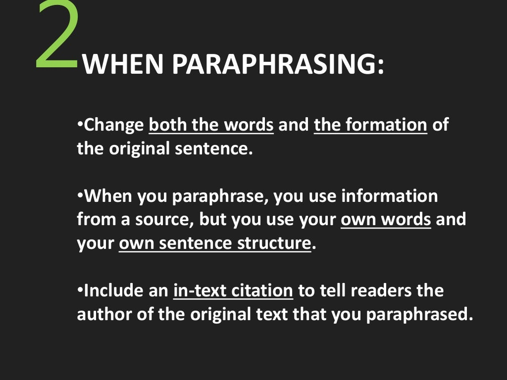 how to paraphrase a sentence to avoid plagiarism