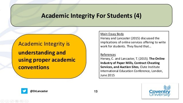 academic integrity what does this term mean for students univers   academic integrity is not being complacent when other people are cheating 13