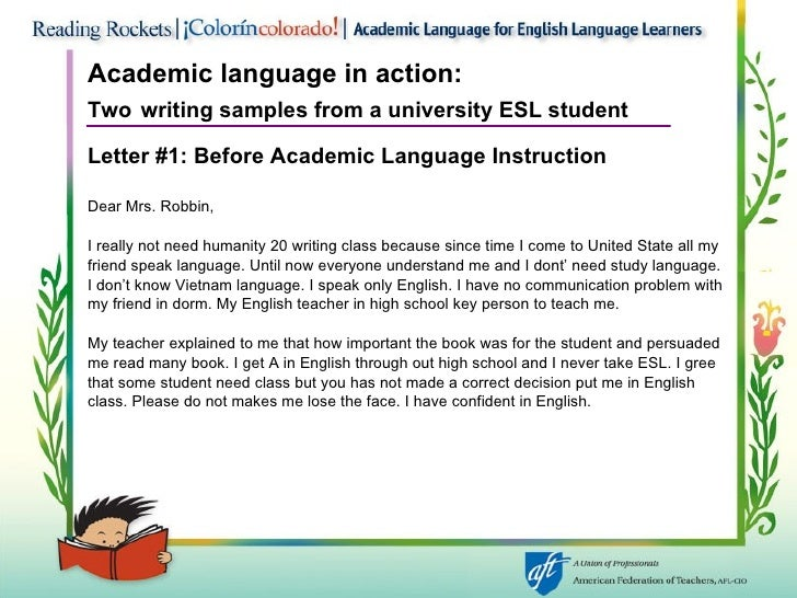 academic english examples