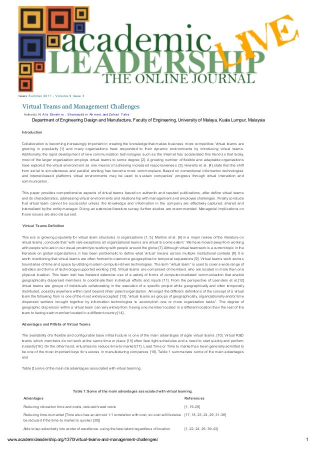 Virtual Teams and Management Challenges Issues: Sum m er 2011 - Vol um e 9 Issue 3 Introduction Collaboration is becoming ...