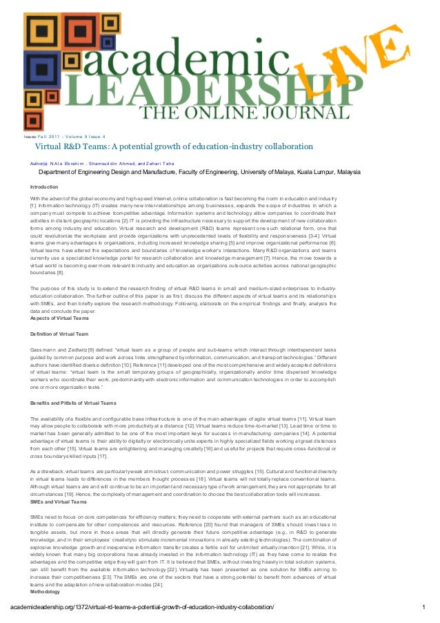 Virtual R&D Teams: A potential growth of education-industry collaboration Issues: Fal l 2011 - Vol um e 9 Issue 4 Introduc...