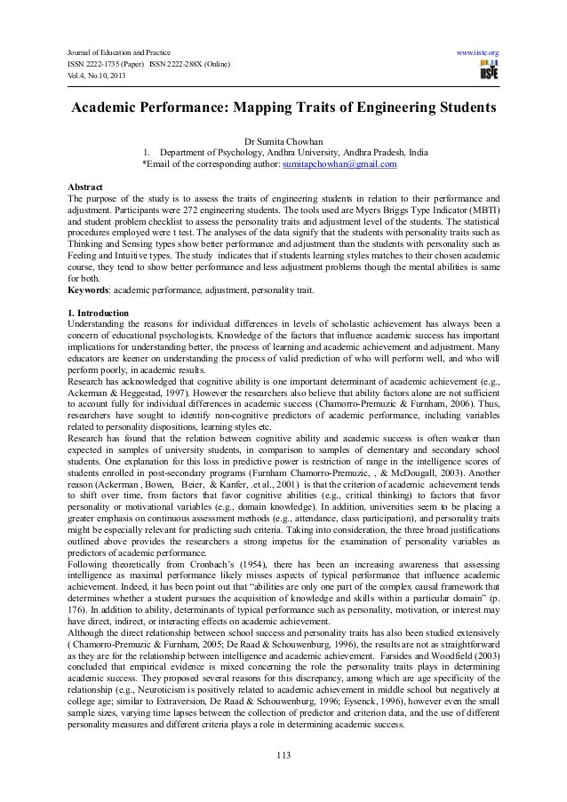 Journal of Education and Practice www.iiste.orgISSN 2222-1735 (Paper) ISSN 2222-288X (Online)Vol.4, No.10, 2013113Academic...