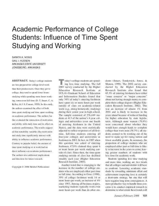 peer pressure and academic performance of freshmen college students