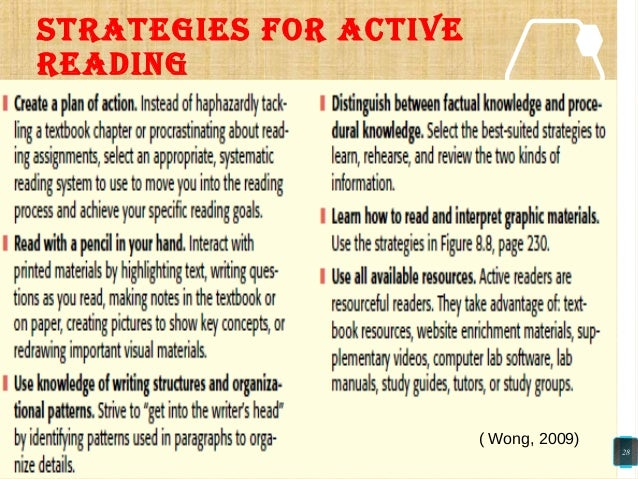 STRATEGIES FOR ACTIVE READING ( Wong, 2009) 28