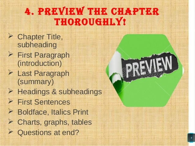  Chapter Title, subheading  First Paragraph (introduction)  Last Paragraph (summary)  Headings & subheadings  First S...