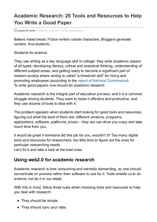 academic research tools and resources to help you write a good pa  academic research 25 tools and resources to help you write a good paper papers4