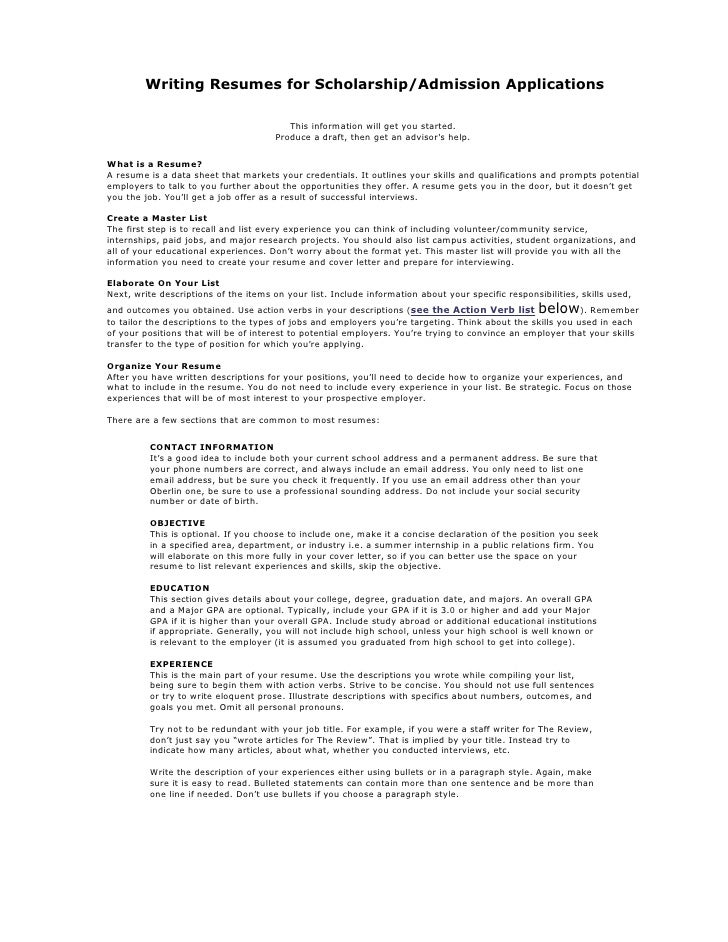 resume writing for high school students make