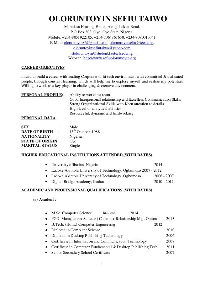 resume for board position