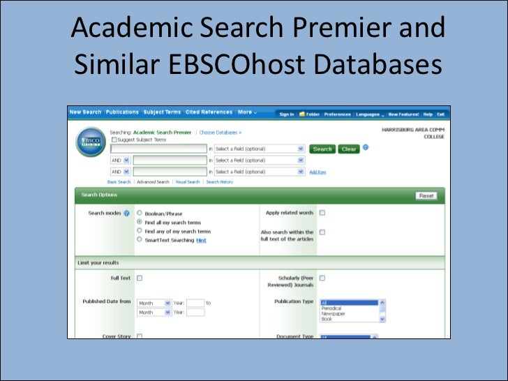 Academic Search Premier andSimilar EBSCOhost Databases