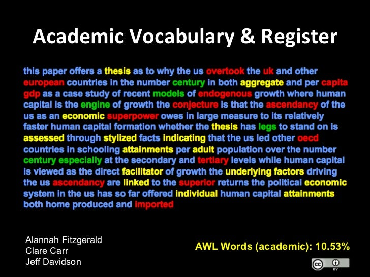 academic vocabulary Vocabulary lists : test prep the top 60 most common academic words sign up, it's free whether you're a student, an educator, or a lifelong learner, vocabularycom can put you on the.