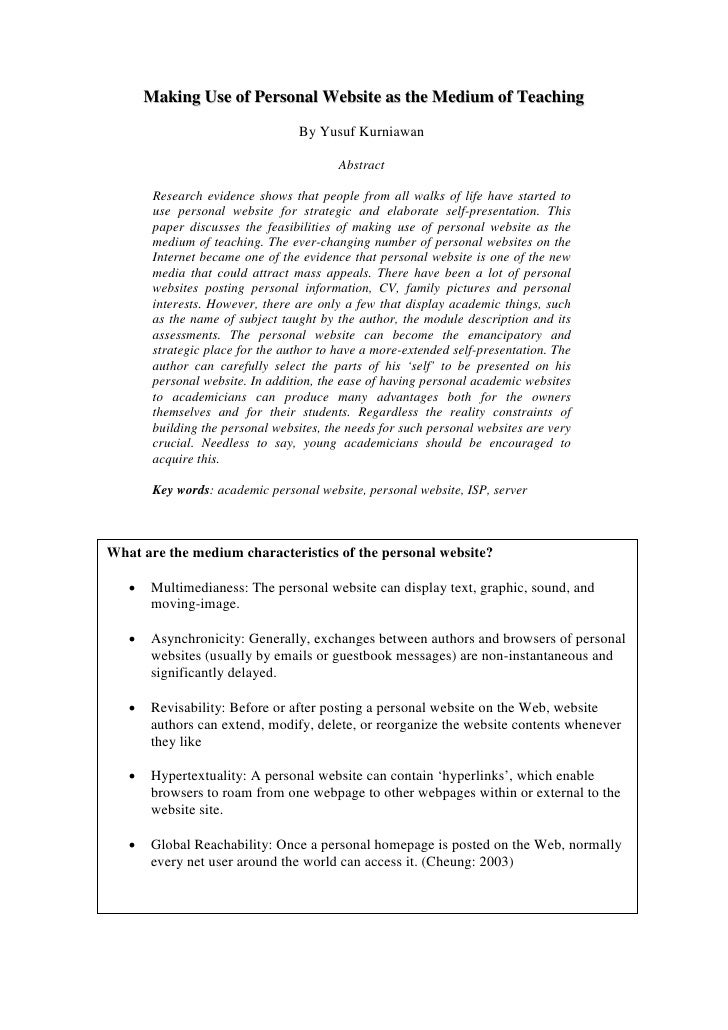 Making Use of Personal Website as the Medium of Teaching                                   By Yusuf Kurniawan             ...