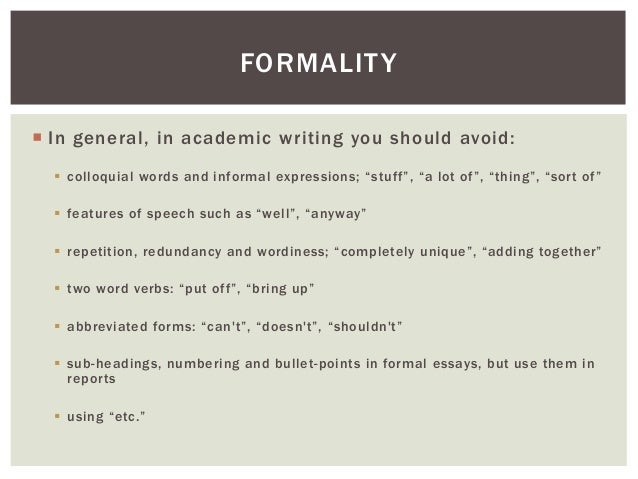 formality in writing