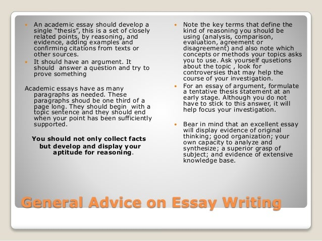Academic essay advice