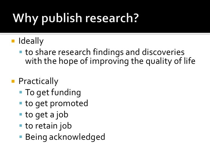 Writing and Publishing Your Research Findings