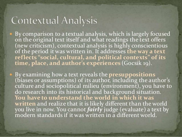 Contextual analysis essay sample for Context analysis template