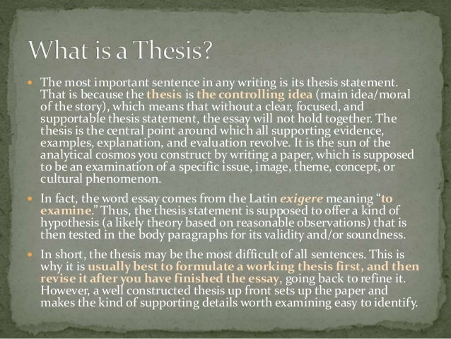 What does the root word thesis mean