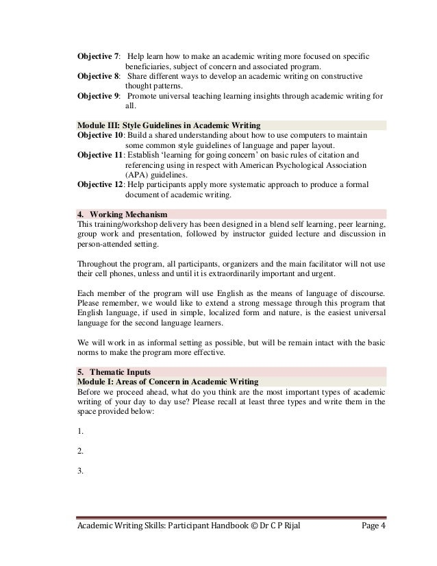 academic writing guidelines pdf